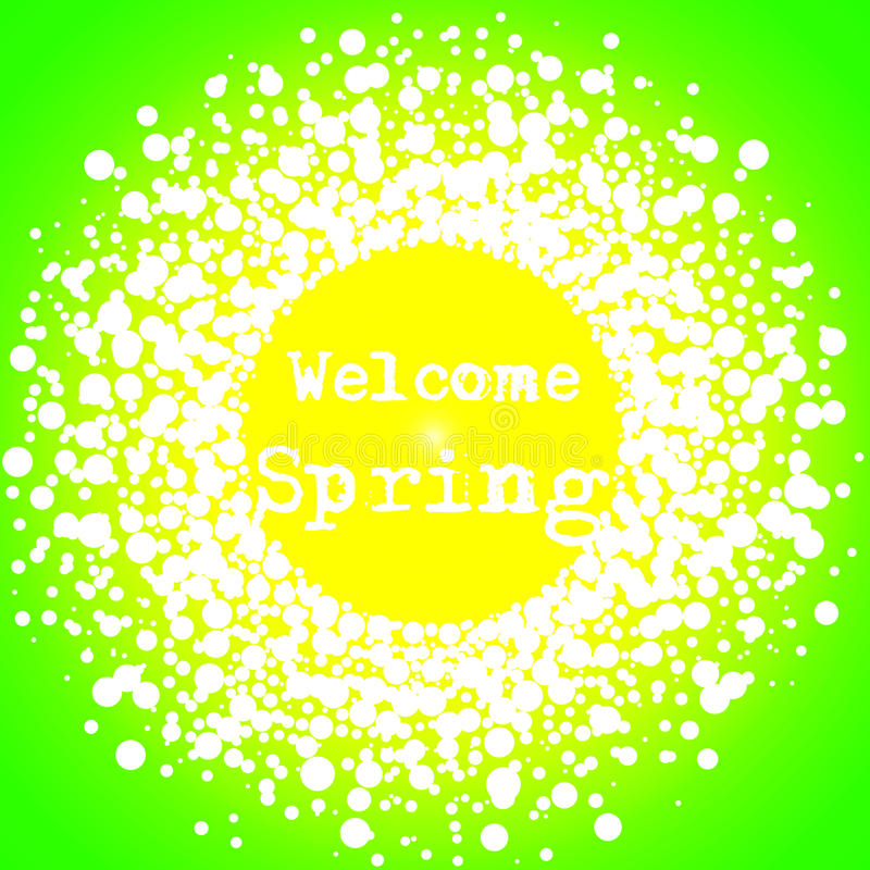 Welcome Spring Green Wall Hanging Poster stock photo