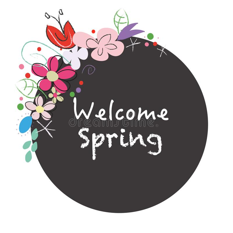 ``Welcome spring`` text chalkboard style wreath with abstract spring flowers royalty free illustration