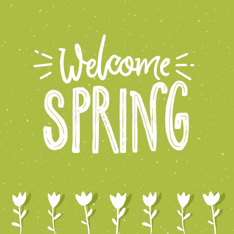 Welcome spring text on green textured background and hand drawn tulip flowers. Ecology illustration. stock illustration