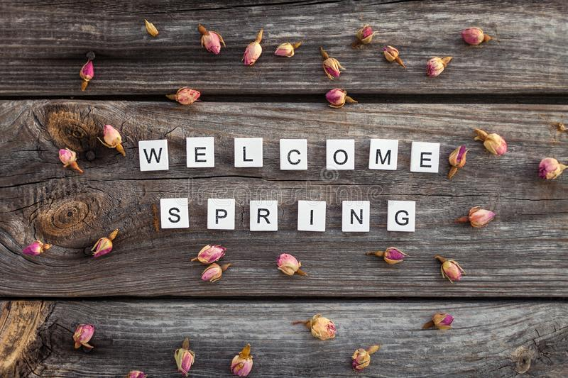 Download Welcome Spring Words Is Made Of Bright Wood Cubes On A Dark Wooden  Background Stock
