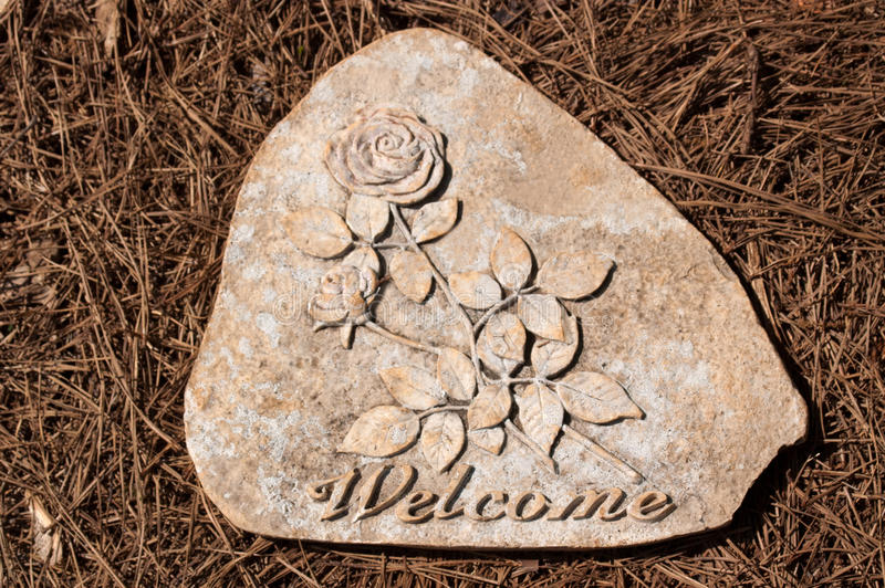 Download Welcome Stepping Stone On Pine Straw Stock Image - Image: 30789791