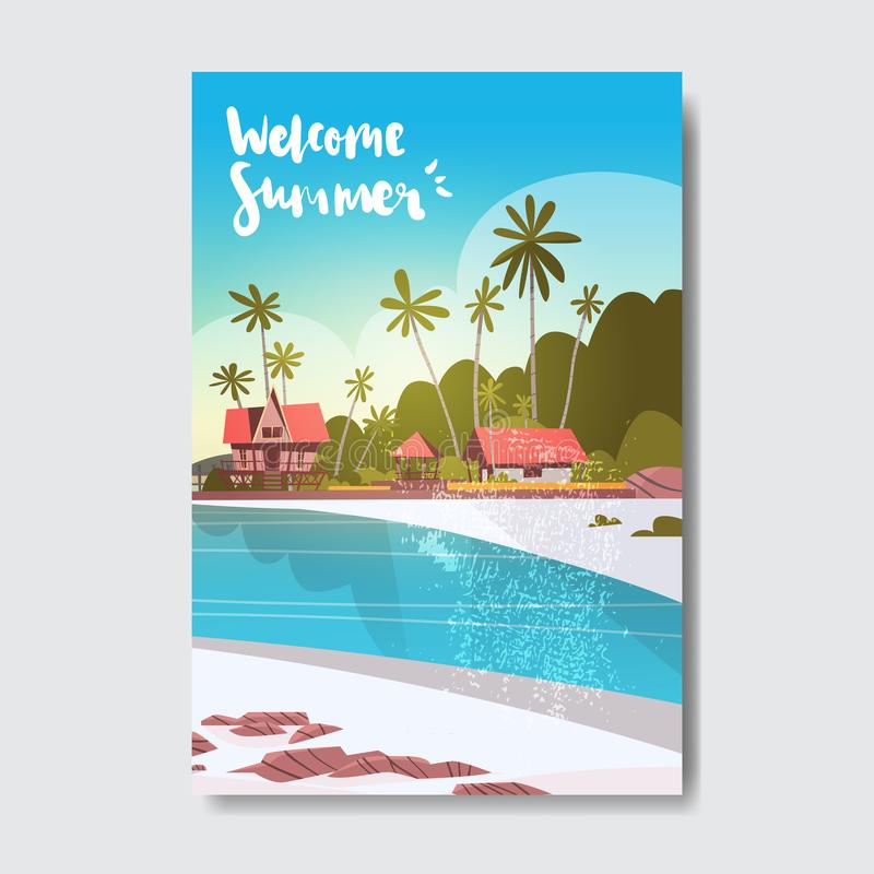 Welcome summer house hotel palm tree sunrise beach badge design label. season holidays lettering for logo, templates. Invitation, greeting card, prints and vector illustration