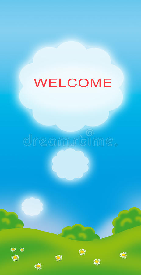 Welcome summer landscape illustration. Summer landscape illustration with word welcome in red color on white cloud and blue sky background with green trees vector illustration
