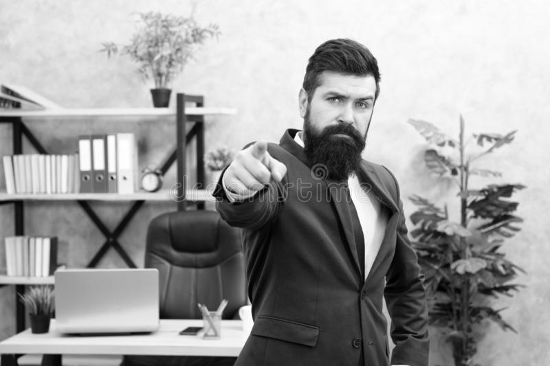 Welcome team member. Recruiter professional occupation. HR manager. Man bearded manager recruiter in office. Recruiter stock photography