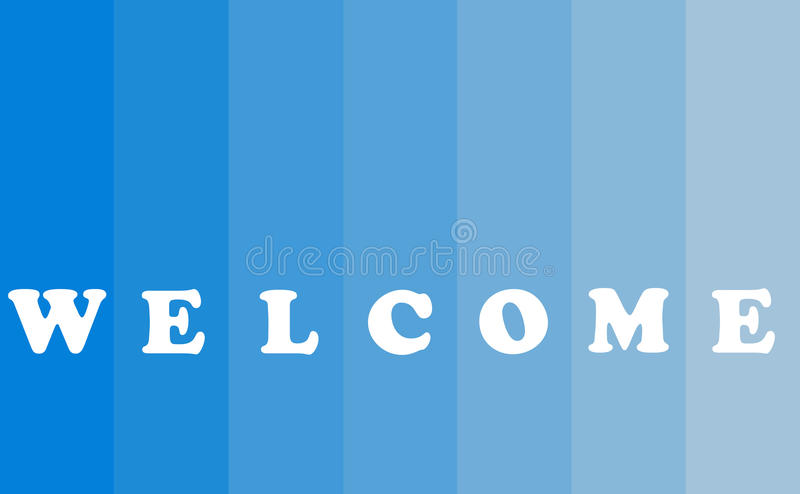 Welcome Text Concept. Welcome banner with text concept on blue background, color bar style, copy space vector illustration