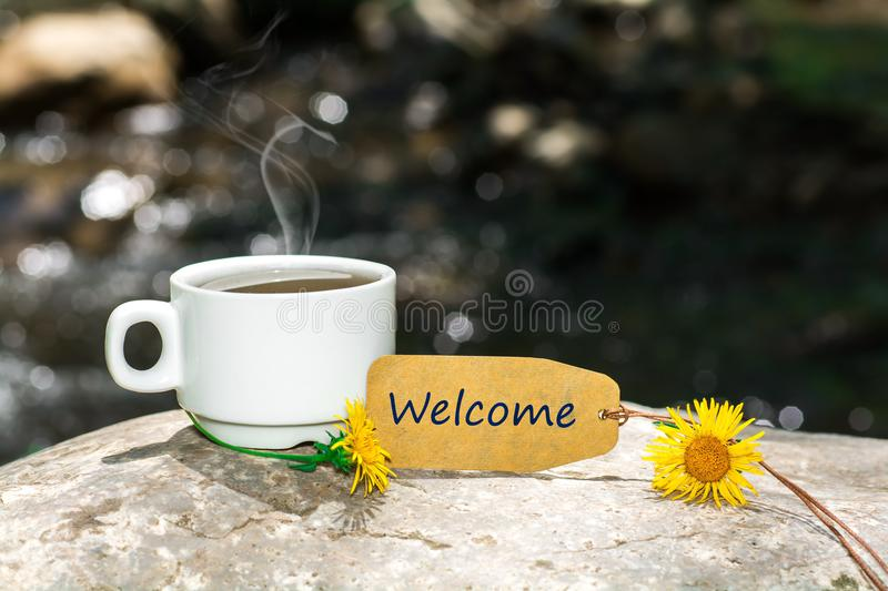 Welcome text with coffee cup stock images