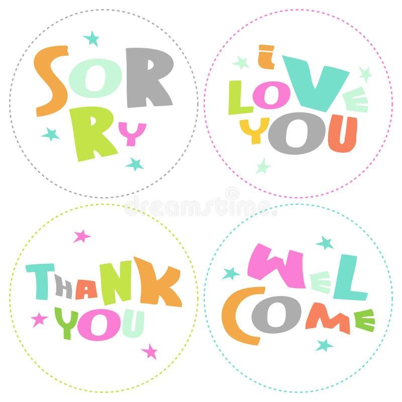 Welcome, Thank You, Sorry, Love You - Grateful Cir Stock Photos