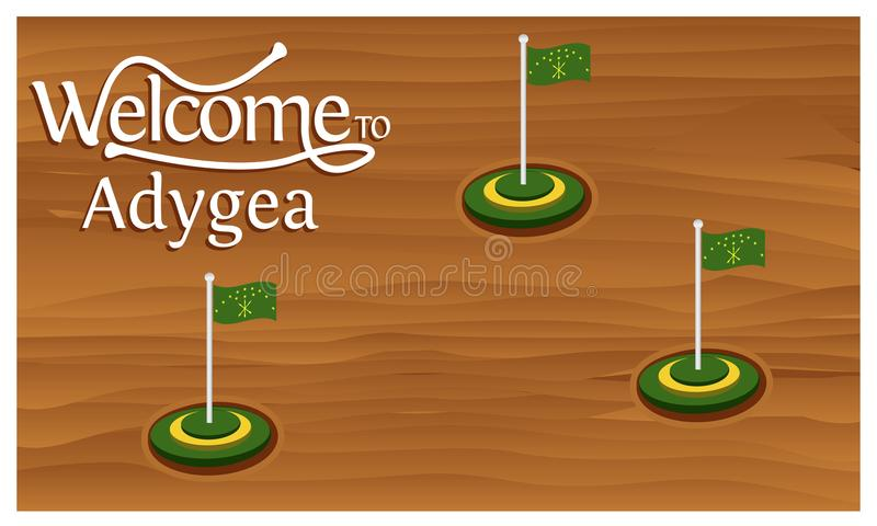 Welcome to Adygea poster with Adygea flag, time to travel Adygea. vector illustration isolated. EPS file available. see more images related vector illustration