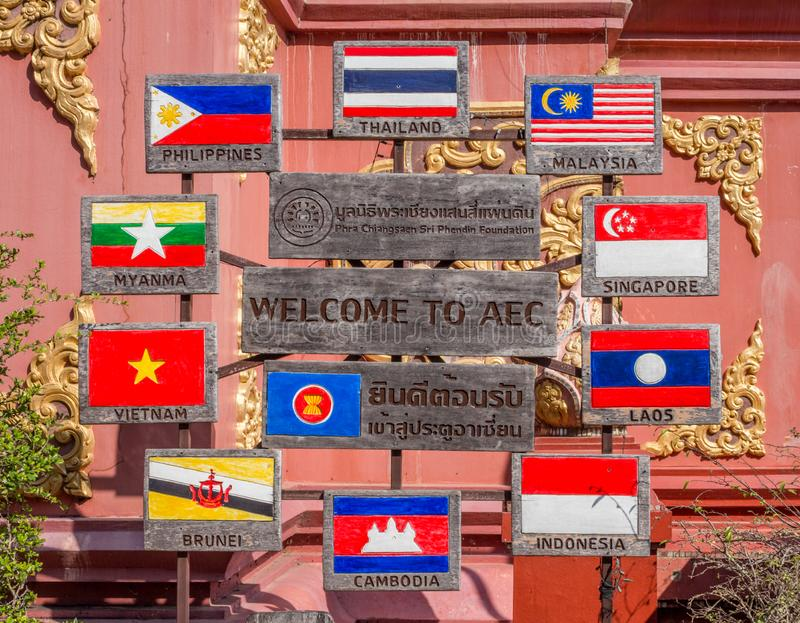 AEC (ASEAN Economic Community) flag and symbol in Golden Triangle, Chiang Rai, Thailand royalty free stock photo