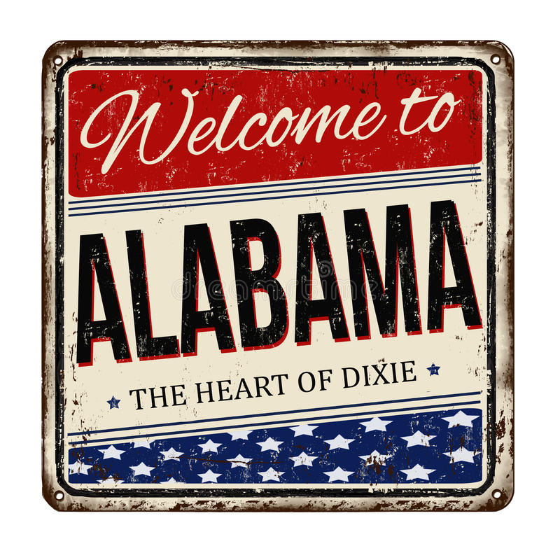 Welcome to Alabama vintage rusty metal sign. On a white background, vector illustration stock illustration