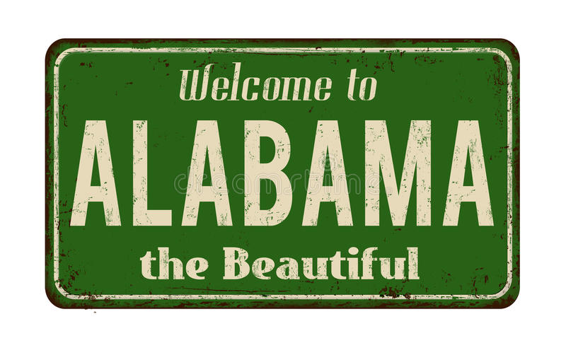 Welcome to Alabama vintage rusty metal sign. On a white background, vector illustration vector illustration