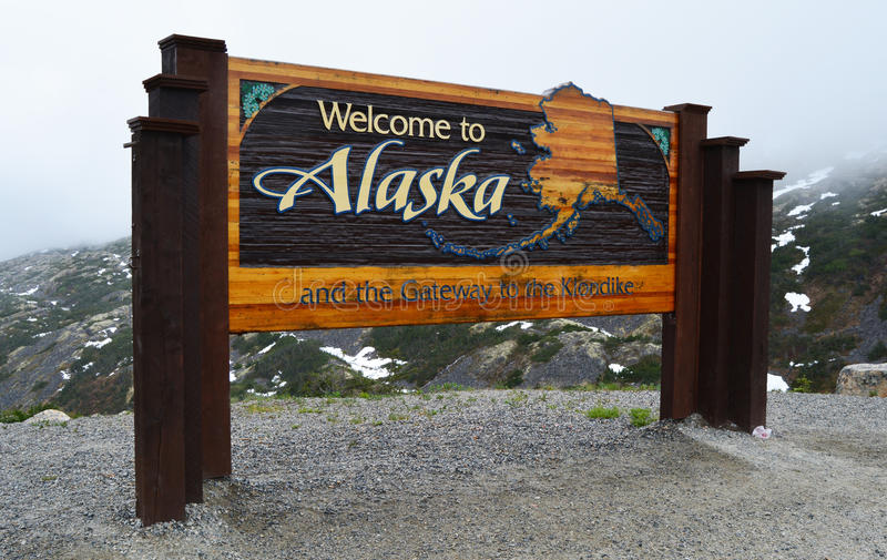 Welcome To Alaska Sign stock photography