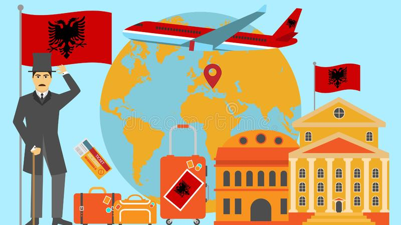 Welcome to Albania postcard. Travel and safari concept of Europe world map vector illustration with national flag vector illustration