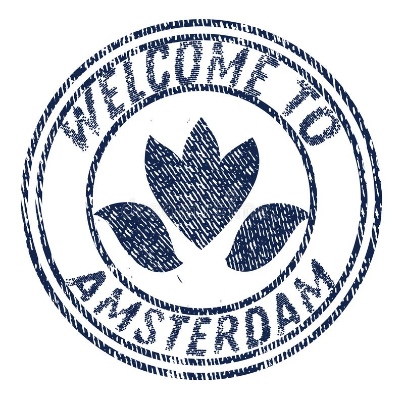 Welcome to Amsterdam flat color illustration on white. Welcome to Amsterdam flat color illustration. Amsterdam culture series vector illustration