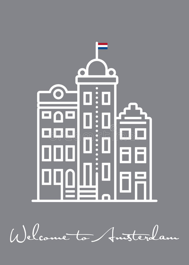 Welcome to Amsterdam greeting Card with typical houses. Line icon vector illustration vector illustration