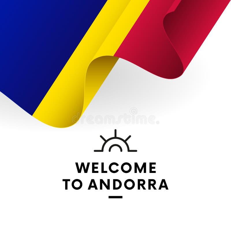 Welcome to Andorra. Andorra flag. Patriotic design. Vector illustration. Welcome to Andorra. Andorra flag. Patriotic design. Waving flag stock illustration