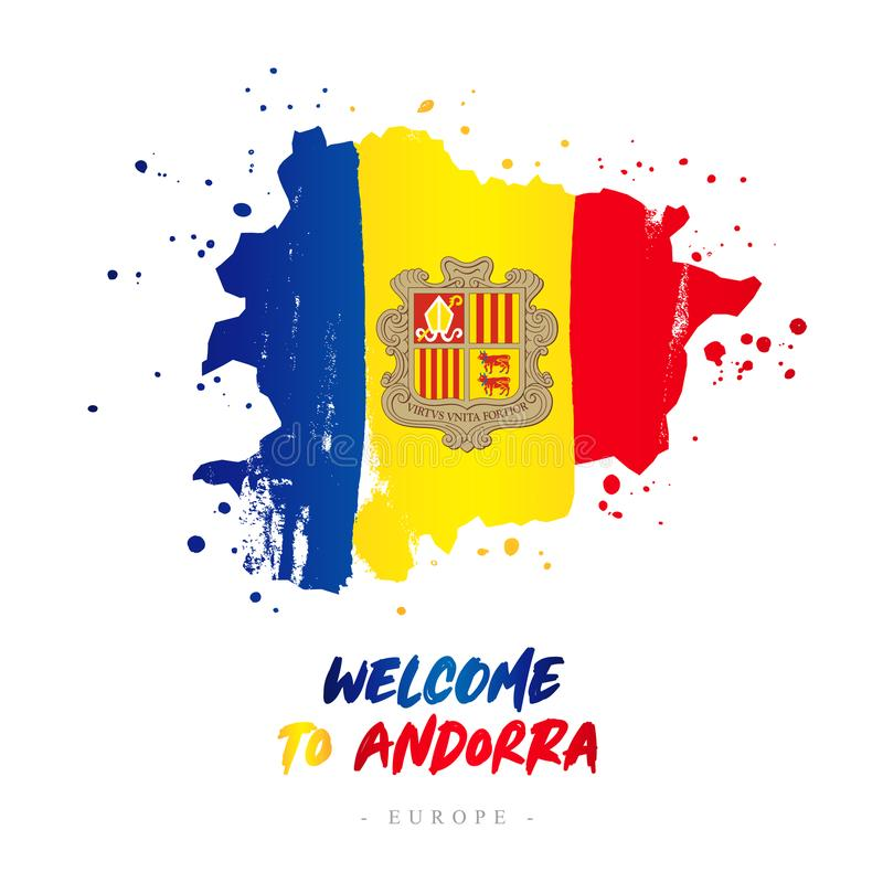 Welcome to Andorra. Flag and map of the country. Welcome to Andorra. Europe. Flag and map of the country of Andorra from brush strokes. Lettering. Vector royalty free illustration