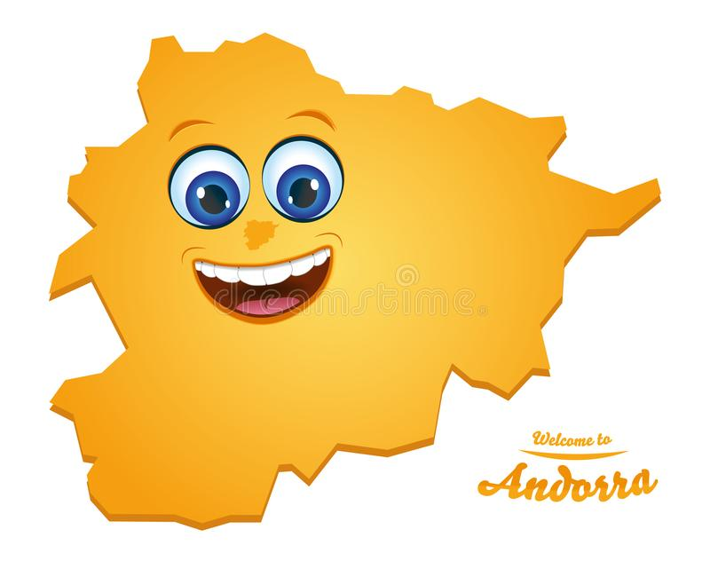 Welcome to Andorra smiley map. Illustration royalty free illustration