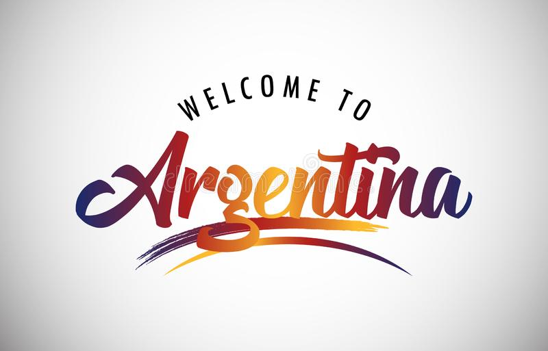Welcome to Argentina!. Argentina Welcome To Message in Beautiful Colored Modern Gradients Vector Illustration stock illustration