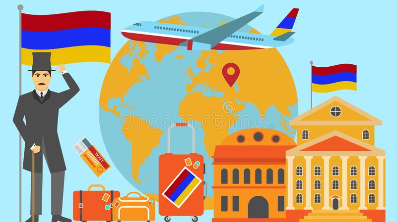 Welcome to Armenia postcard. Travel and safari concept of Europe world map vector illustration with national flag. Welcome background royalty free illustration