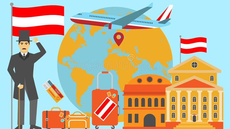 Welcome to Austria postcard. Travel and safari concept of Europe world map vector illustration with national flag. Welcome background stock illustration