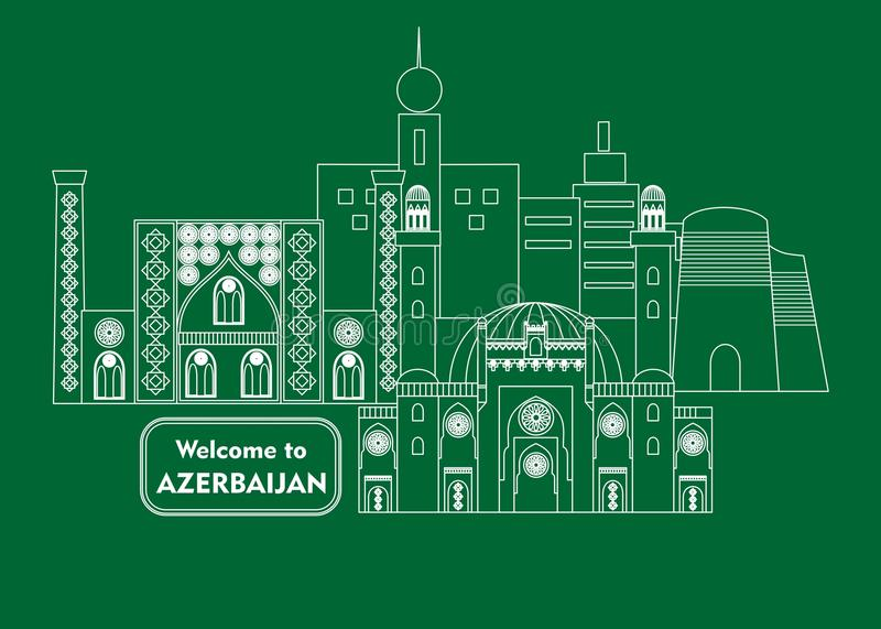 Welcome to azerbaijan. Set in the style of a flat design on the theme of azerbaijan royalty free illustration