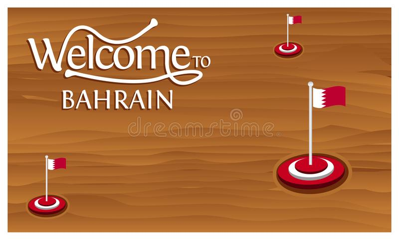 Welcome to Bahrain poster with Bahrain flag, time to travel Bahrain. vector illustration isolated. EPS file available. see more images related vector illustration