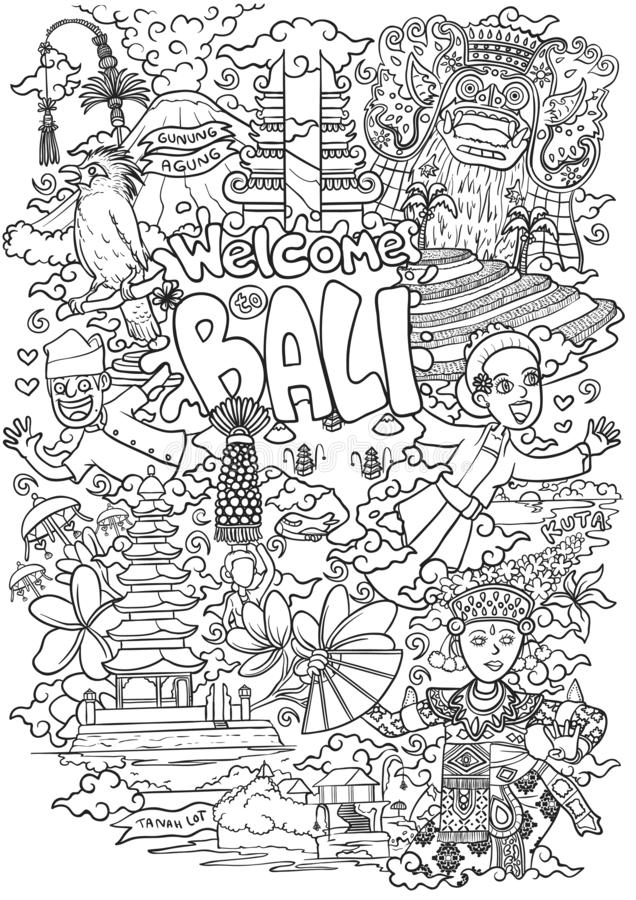Welcome to bali outline illustration vector illustration
