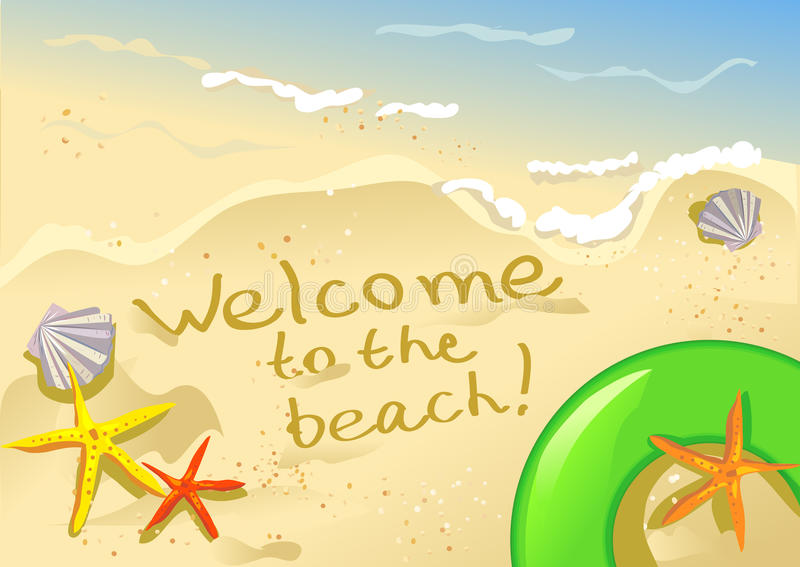 Download Welcome to the beach stock vector. Illustration of sand - 37177787