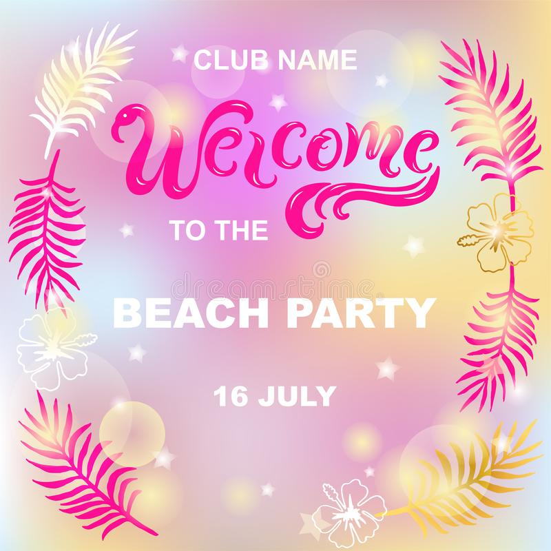 Welcome to the beach party vector illustration royalty free illustration