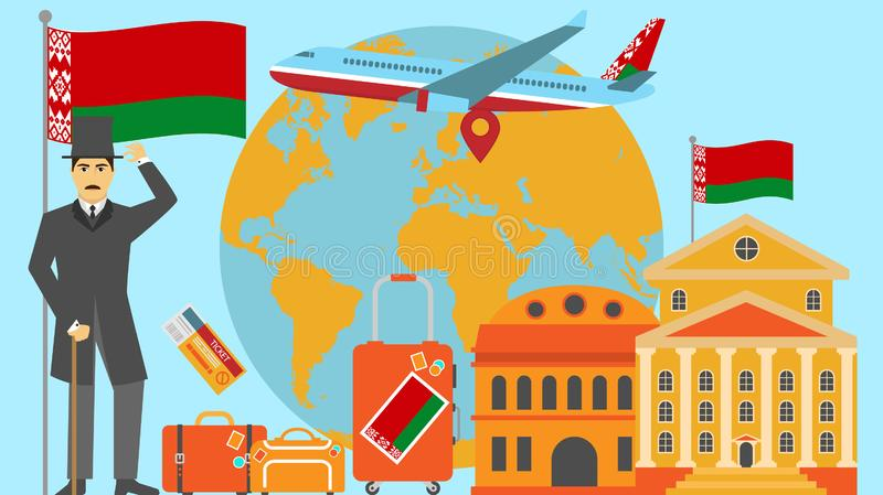 Welcome to Belarus postcard. Travel and safari concept of Europe world map vector illustration with national flag. Welcome background stock illustration