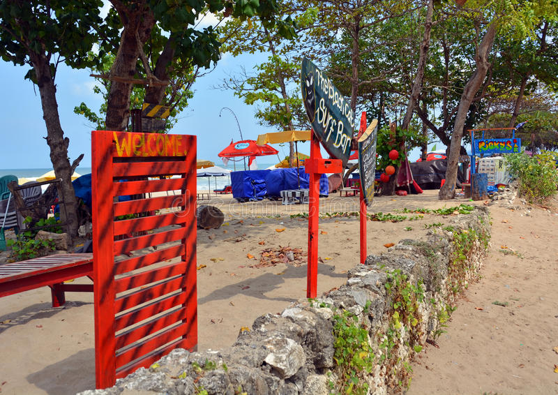 Welcome to The Black Cat Surf Bar, Bali stock image