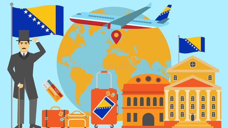 Welcome to Bosnia and Herzegovina postcard. Travel and safari concept of Europe world map vector illustration with national flag. Welcome background royalty free illustration
