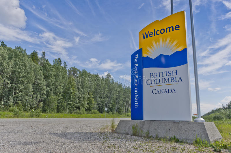 Welcome to British Columbia sign royalty free stock photography