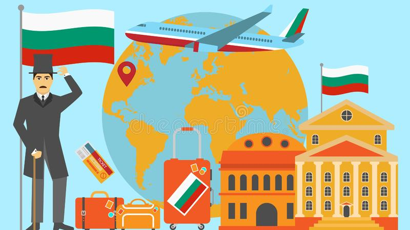Welcome to Bulgaria postcard. Travel and safari concept of Europe world map vector illustration with national flag. Welcome background stock illustration