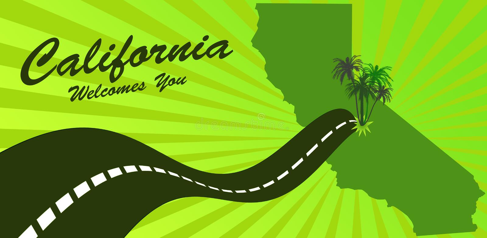 Welcome to California. Design in green colors stock illustration