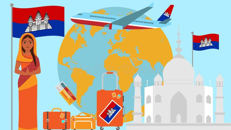 Welcome to Cambodia postcard. Travel and safari concept of Asia world map vector illustration with national flag. Welcome background royalty free illustration