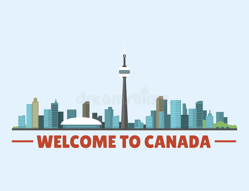 Welcome to Canada city downtown buildings silhouette canadian cityscape vector illustration. Scenic panorama beautiful tower architecture building landscape royalty free illustration
