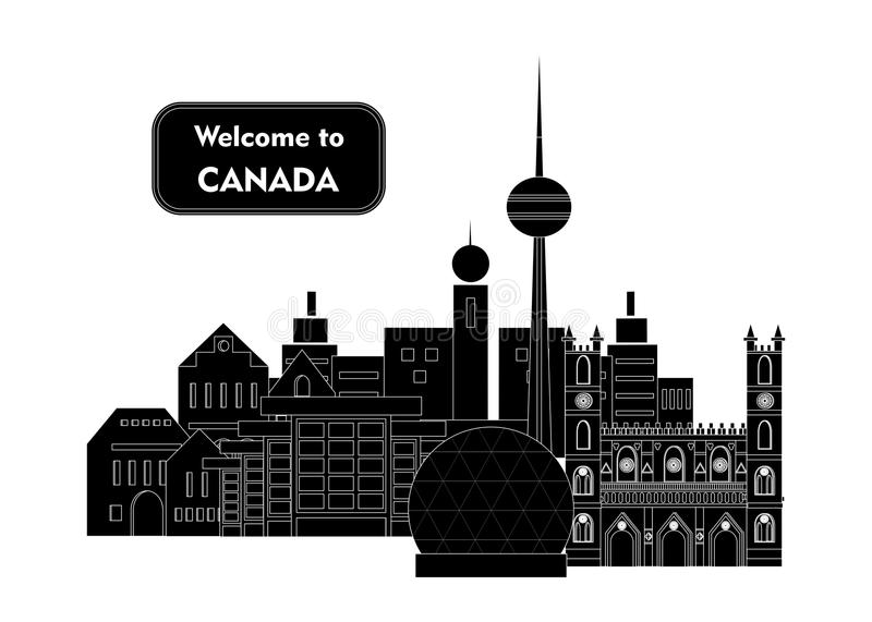 Welcome to canada. Set in the style of a flat design on the theme of canada vector illustration
