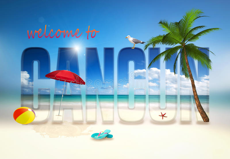 Welcome to Cancun illustration royalty free stock photos