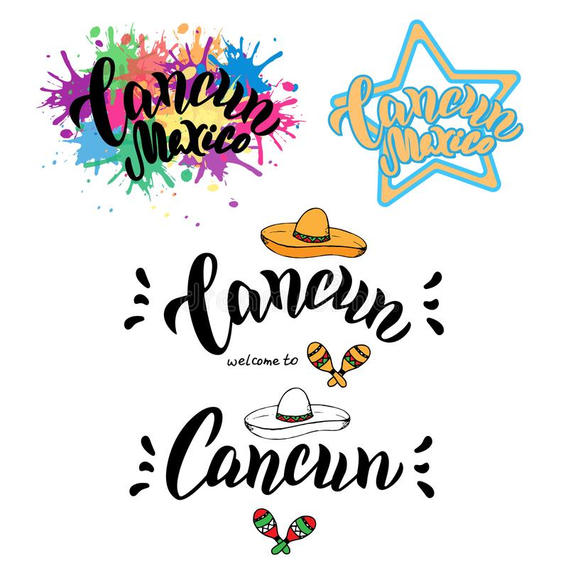 Welcome to Cancun typography set. Travel greeting postcard. T-shirt print, souvenirs design. vector illustration