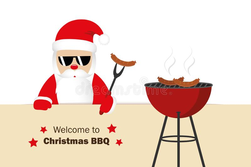 Welcome to christmas BBQ santa claus grills sausages funny cartoon. Vector illustration EPS10 stock illustration