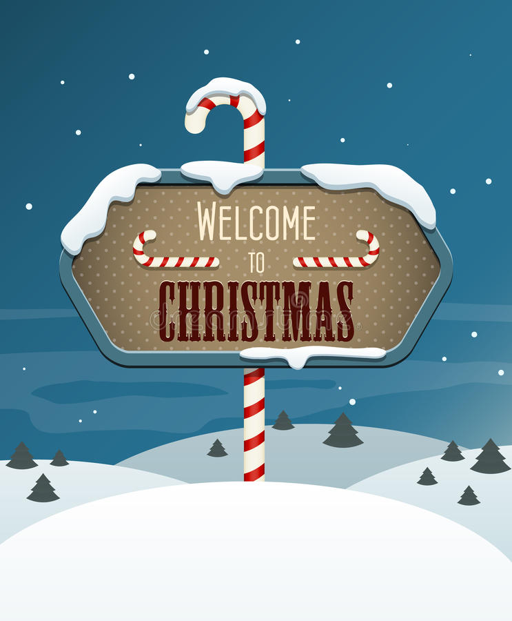 Welcome to Christmas stock vector. Illustration of note ...
