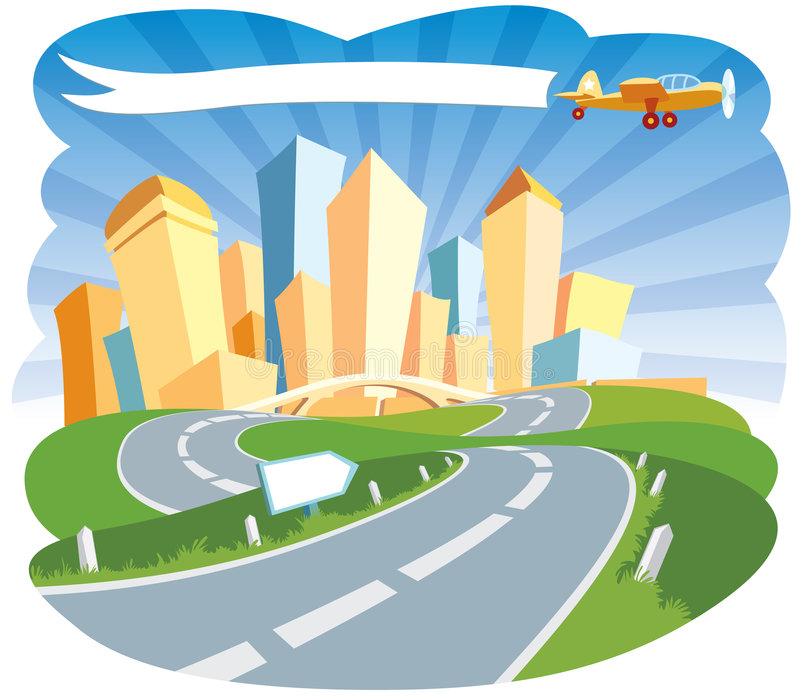 Welcome to a city. Road to a city center, vector vector illustration