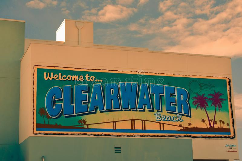 Welcome to Clearwater Beach wall mural in Piere 60 area. Clearwater Beach, Florida. October 18, 2018 Welcome to Clearwater Beach wall mural in Piere 60 area stock photo