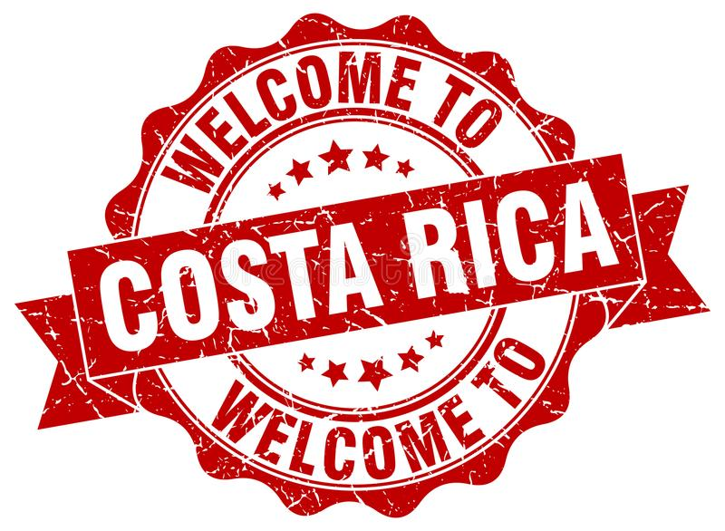 Welcome to Costa Rica seal. Welcome to Costa Rica round vintage seal stock illustration