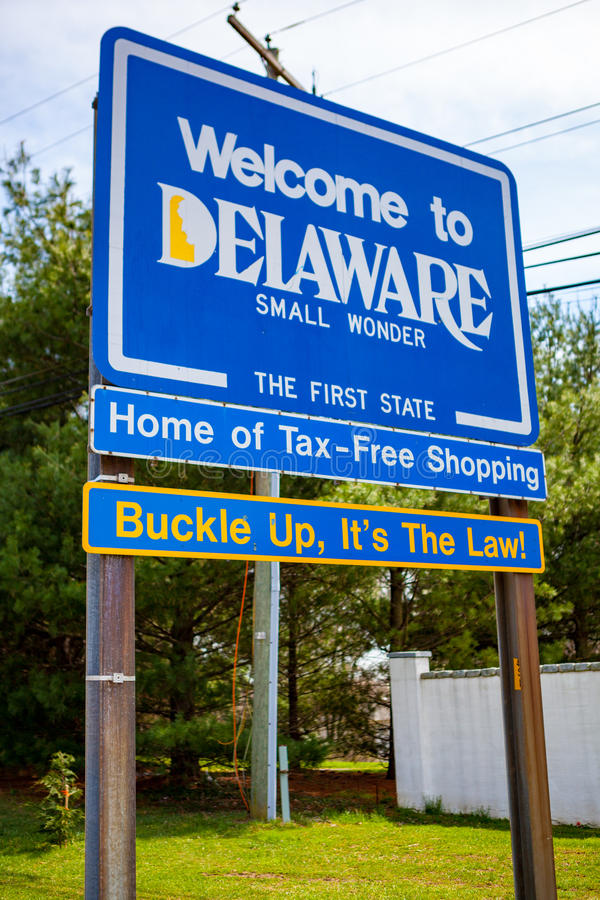 Welcome to Delaware State Sign stock photos