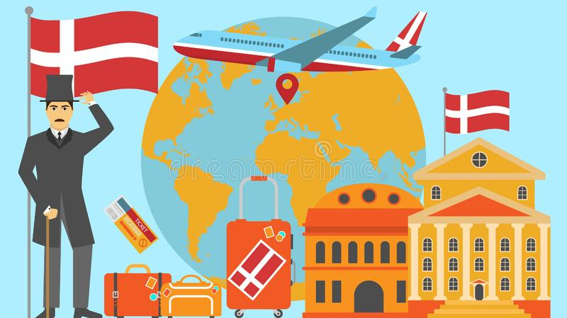 Welcome to Denmark postcard. Travel and safari concept of Europe world map vector illustration with national flag. Welcome background vector illustration