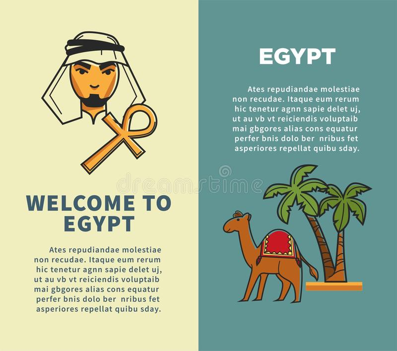 Welcome to Egypt vertical posters with bedouin and camel. Welcome to Egypt vertical posters set with bedouin with cross and camel near tall palms. Travel agency vector illustration