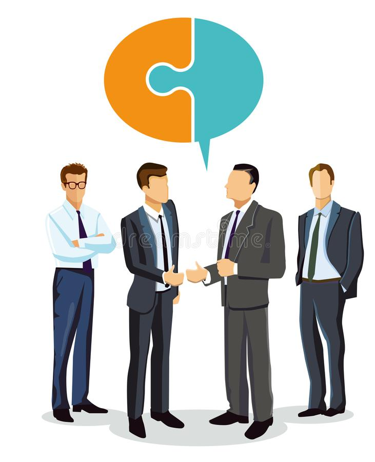 Welcome to an employee. Illustration of four smartly dressed business people with the manager giving a welcome to a new company employee. A bubble symbol of two